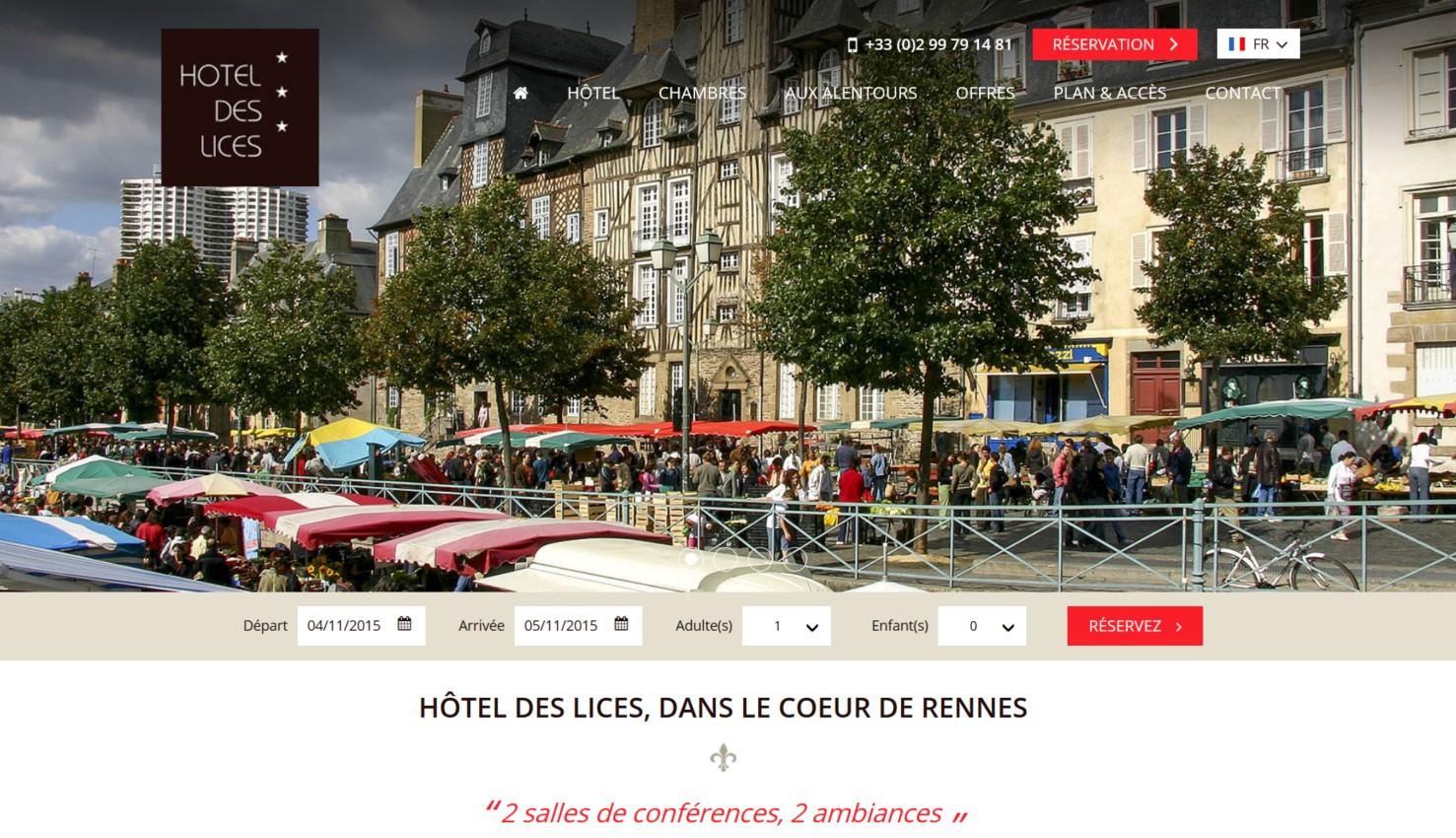 Screenshot mise en ligne site internet hôtel des lices